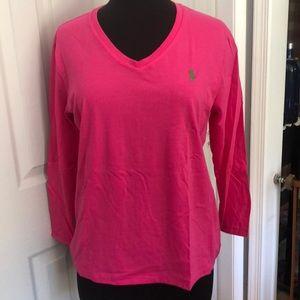 Ralph Lauren Sport long sleeve pink Tee. Size L